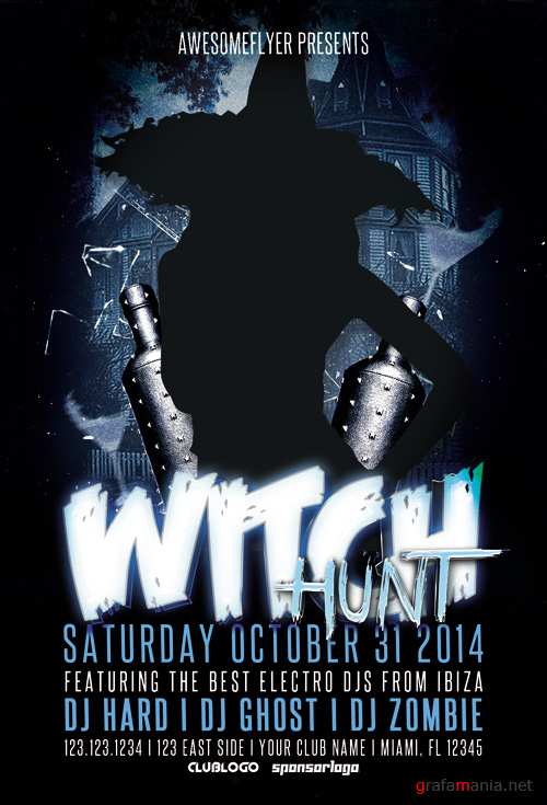 Witch Hunt Halloween Party Flyer