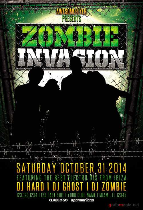 Zombie Invasion Halloween Party Flyer