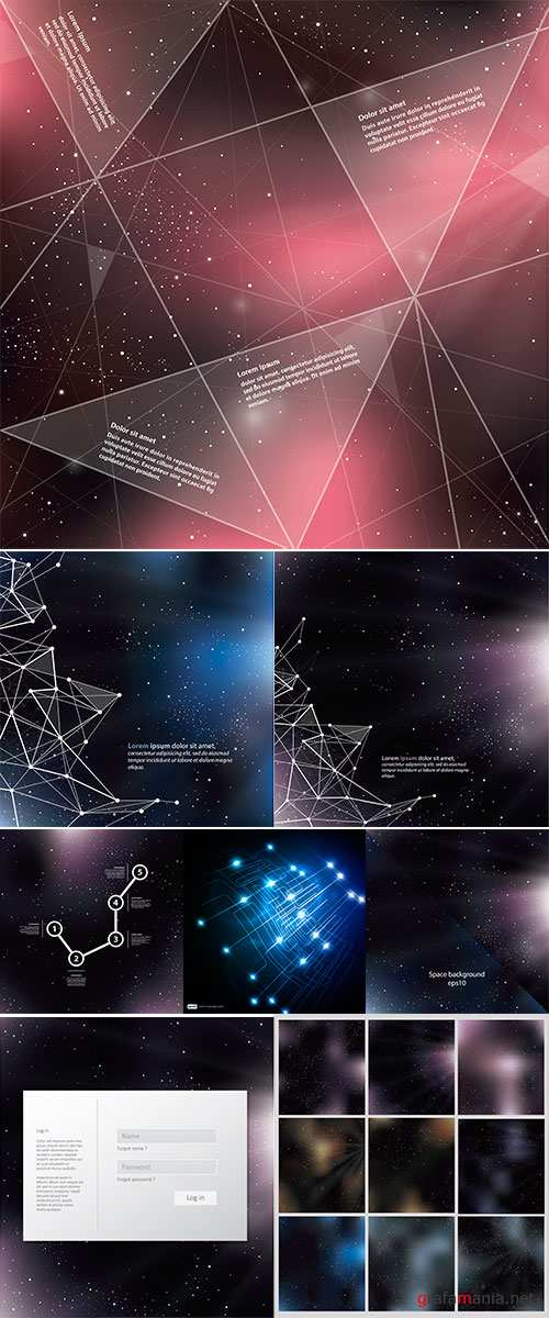 Stock vector Deep Space background with abstract lines and triangles, Universe template, with space for your text
