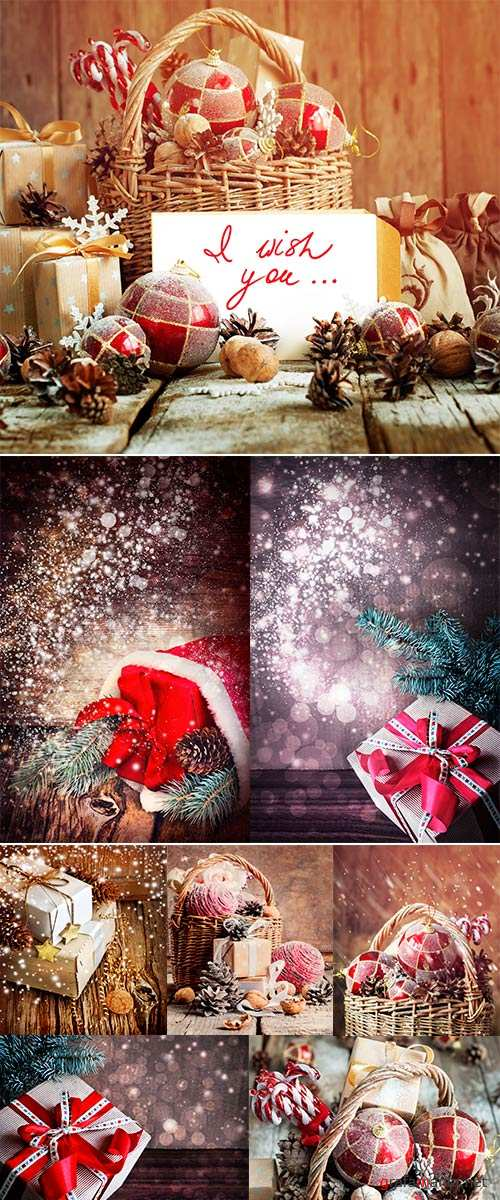 Stock Photo Christmas Card with Gifts, boxes, christmas decorations and christmas pinecones