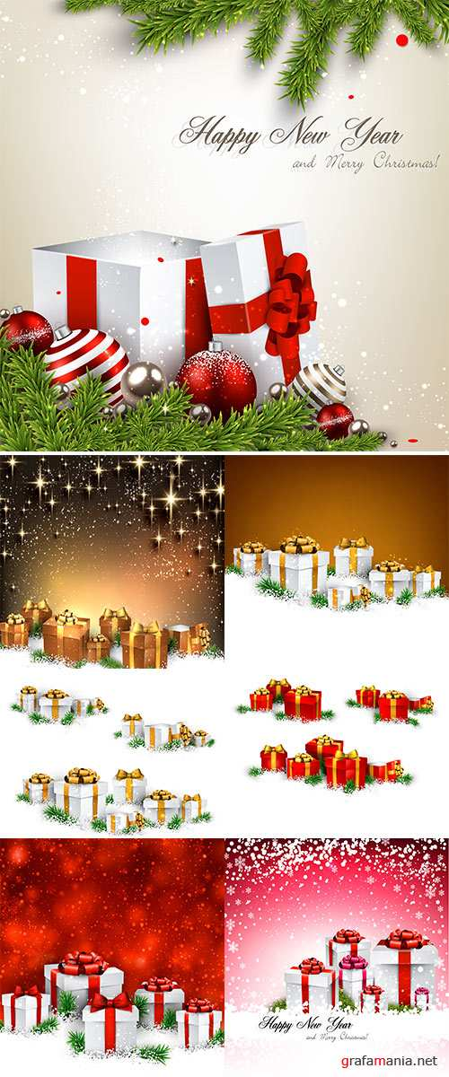 Stock Vector Abstract christmas background with fir branches and realistic gift boxes, Vector illustration