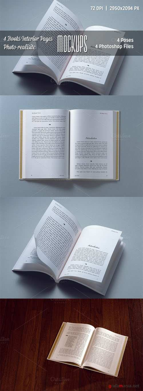 CreativeMarket - 4 Books Interior Pages Mockups