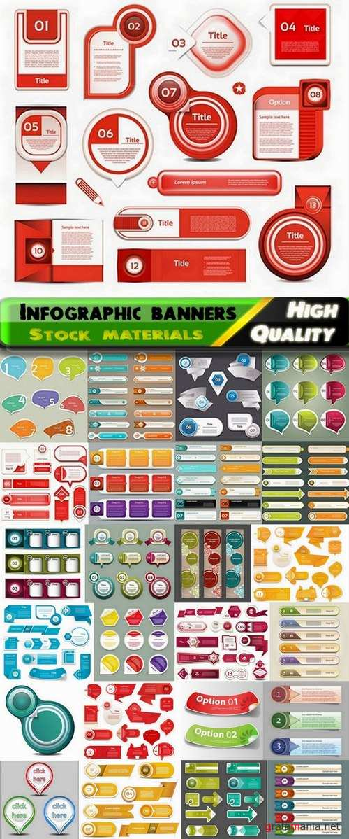 Infographic bubbles and banners in vector from stock - 25 Eps