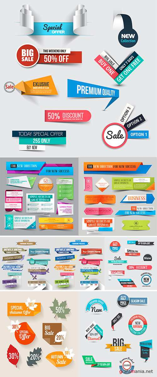 Stock: Collection of Sale Discount Styled origami Banners, Vector