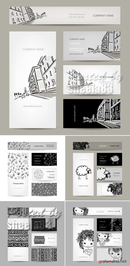 Black & White Business Cards Vector