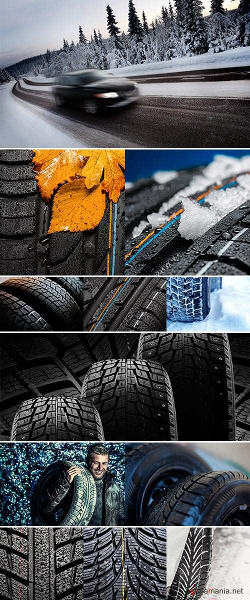 Stock Photo Winter car tires isolated on a white background
