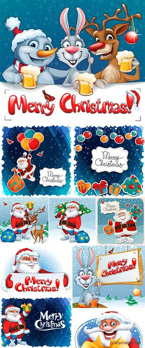 Stock Vector Merry Christmas card, with Santa Claus holding a tree and gifts