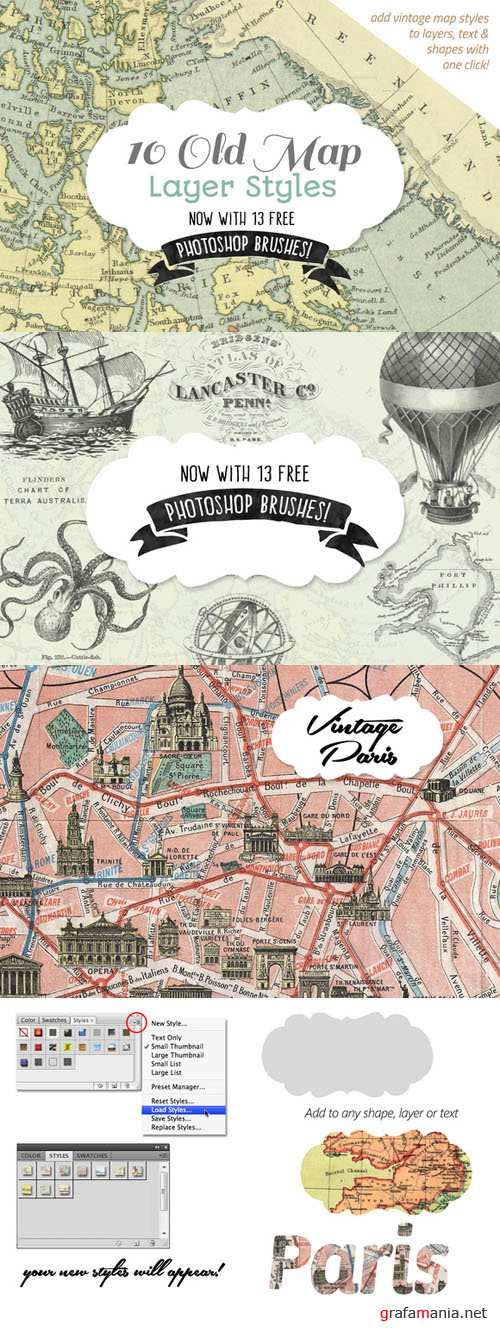CreativeMarket - 10 Old Map Layer Styles 95874