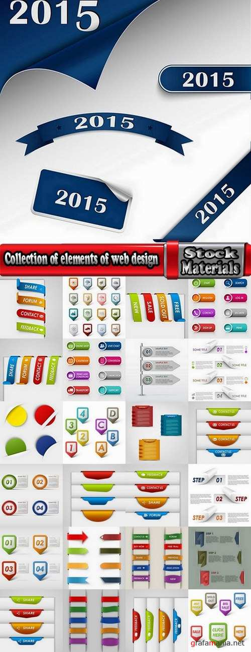 Collection of elements of web design vector image 25 Eps