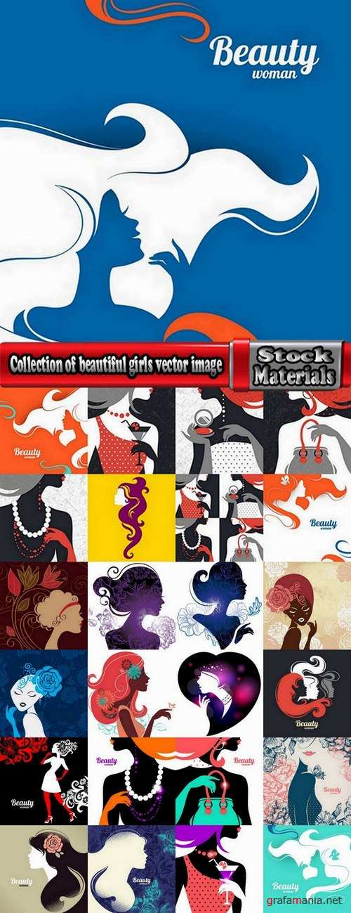 Collection of beautiful girls vector image 25 Eps