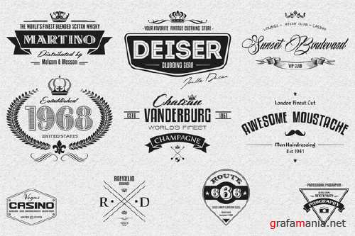 CreativeMarket - 10 Retro Logo Badges And Labels 78150