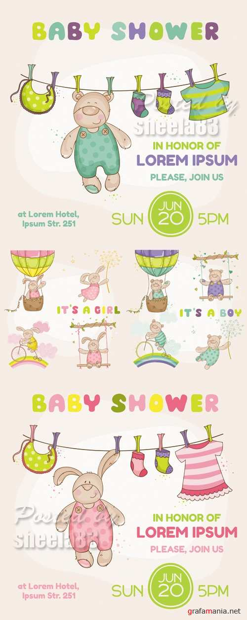 Baby Shower Cards Vector 2
