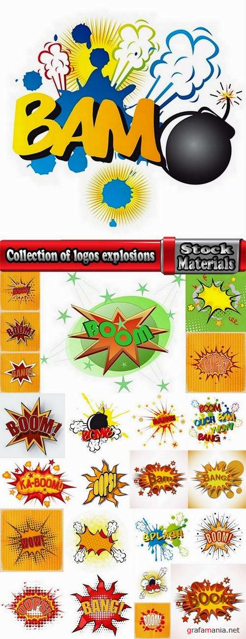 Collection of logos explosions 24 Eps