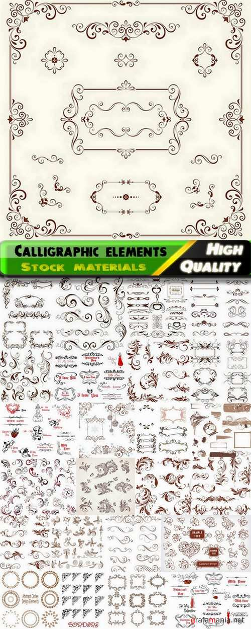 Calligraphic design elements for page decorations #3 - 25 Eps