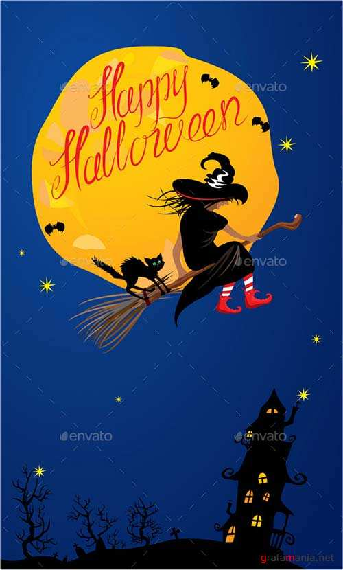 GraphicRiver Card of Halloween Night - Witch and Black Cat