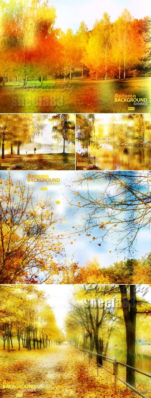 Autumn Nature Backgrounds Vector 2