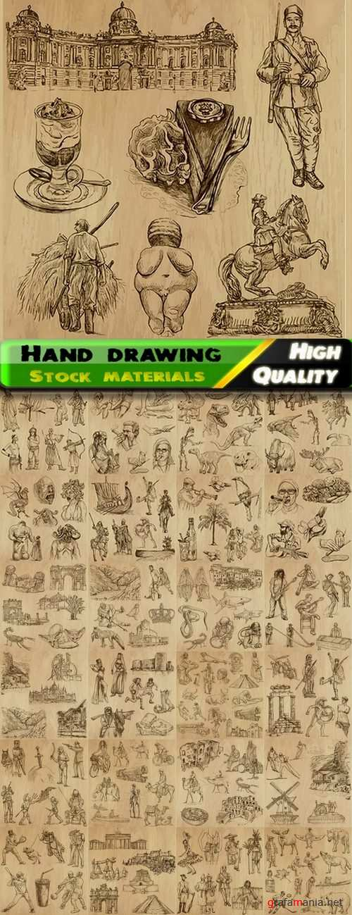 Hand drawing people objects and buildings - 25 Eps