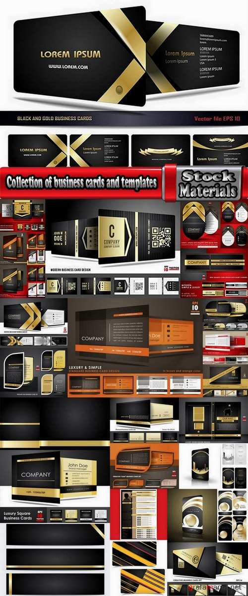 Collection of business cards and templates 25 Eps