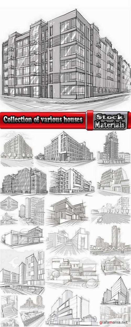 Collection of various houses vector image 25 Eps