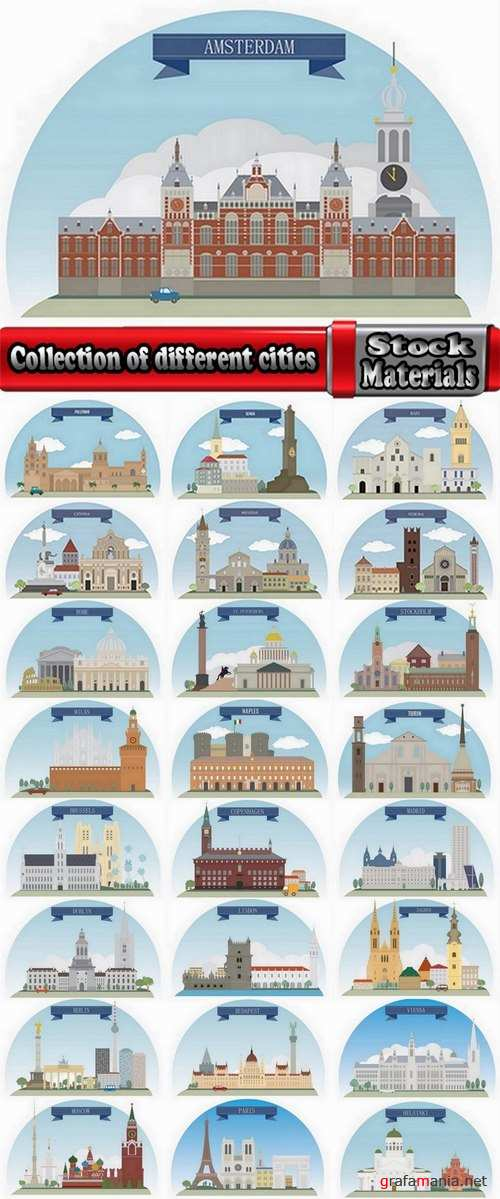 Collection of different cities vetor image 25 Eps