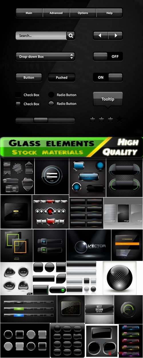 Different glass elements in vector from stock - 25 Eps