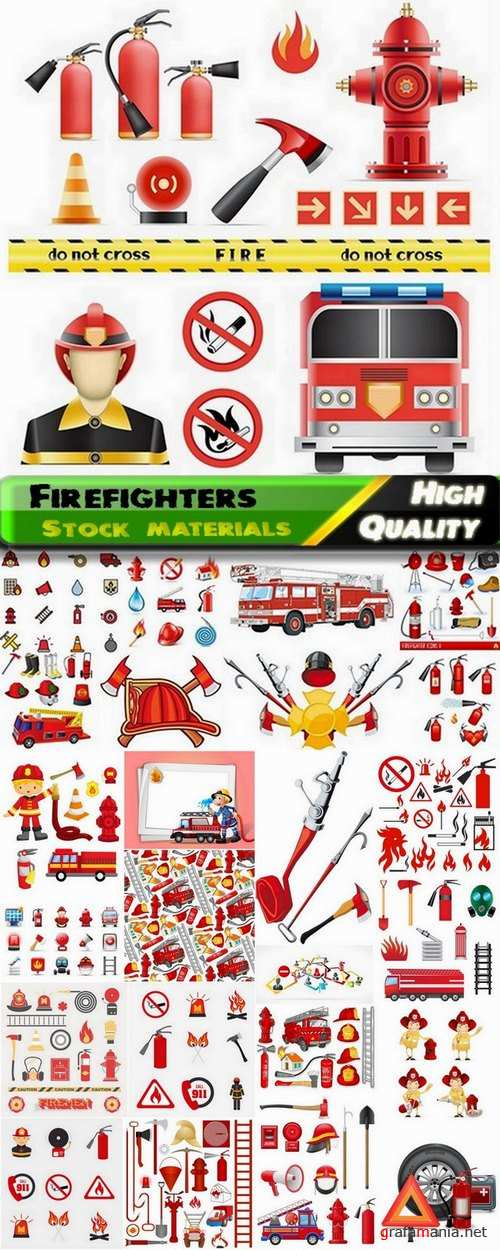 Firefighters in vector from stock - 25 Eps
