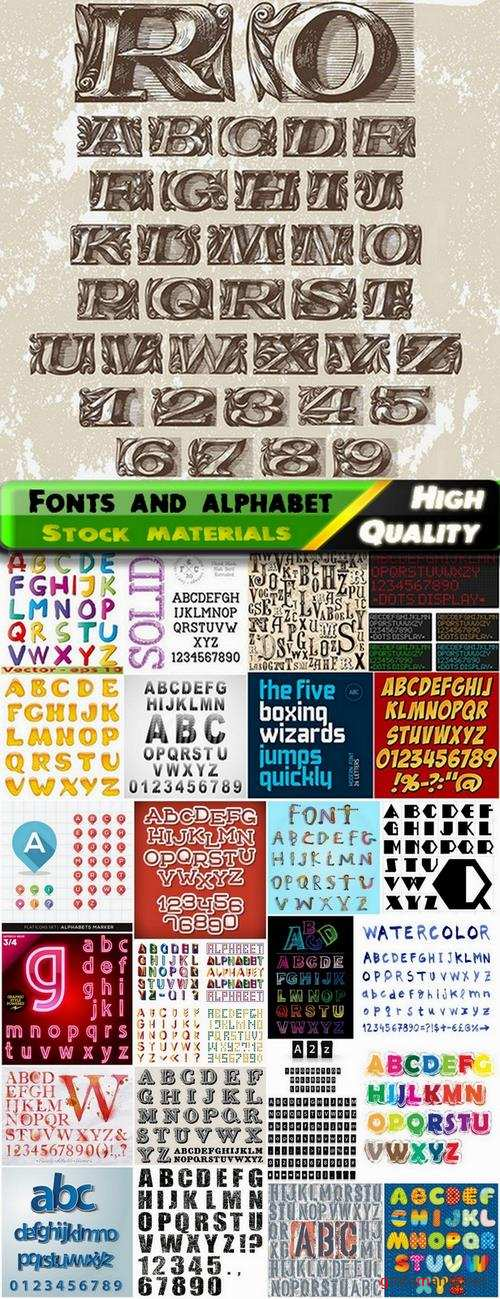 Different Fonts and alphabet in vector from stock #3 - 25 Eps