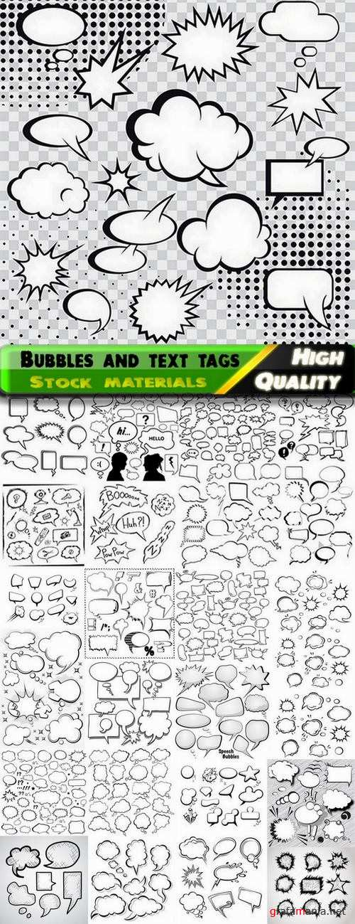 Bubbles and text tags for comics in vector from stock - 25 Eps