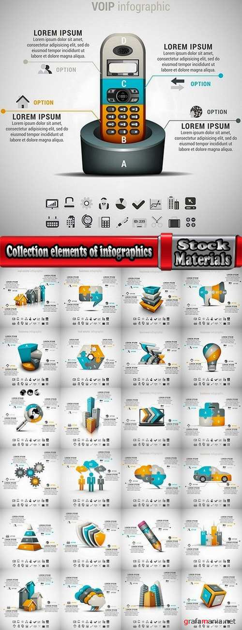 Collection elements of infographics vector image #4-25 Eps