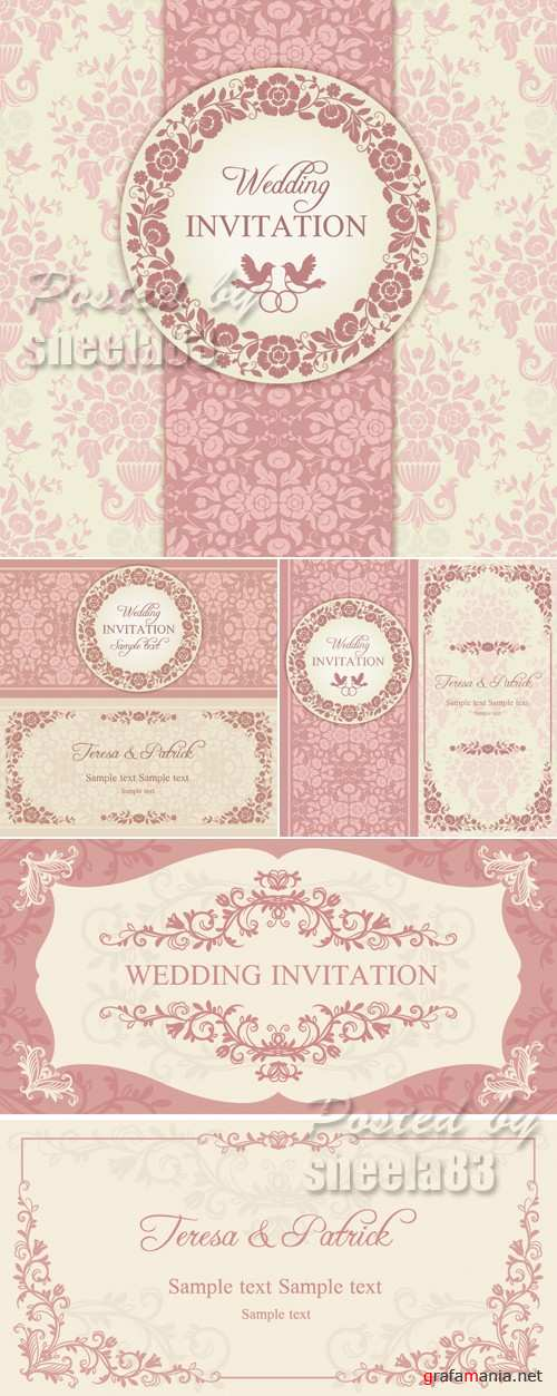 Pink Wedding Invitations Vector