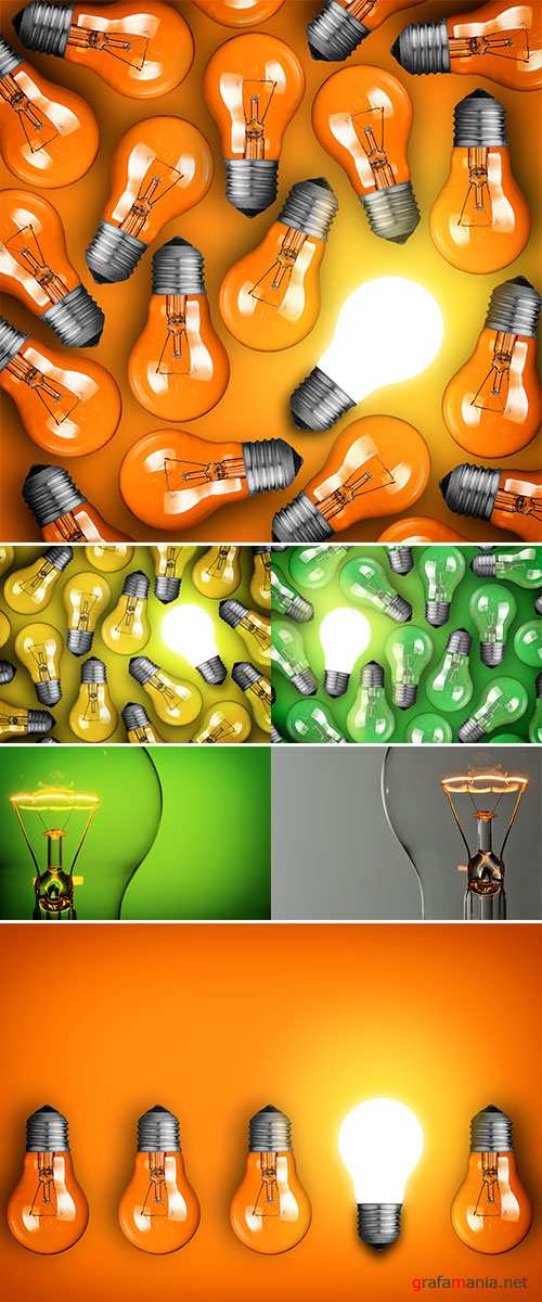 Stock Photo Idea concept with group of light bulbs