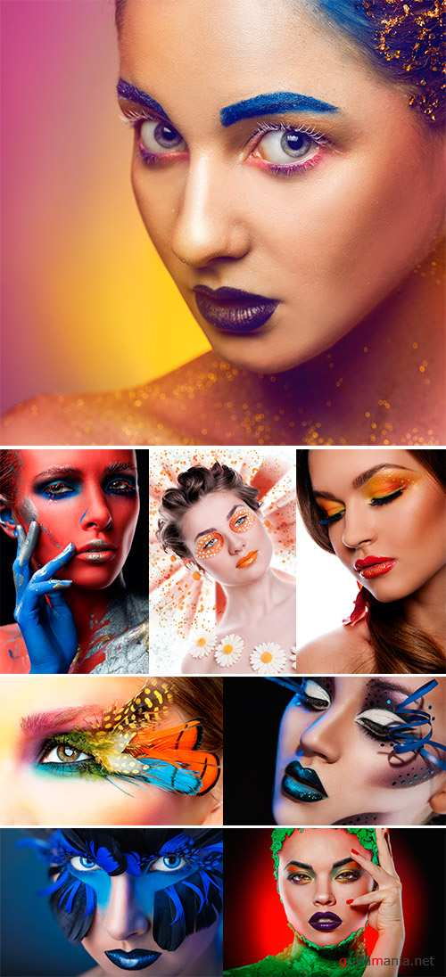 Stock Photo Sweet face with creative make-up close-up