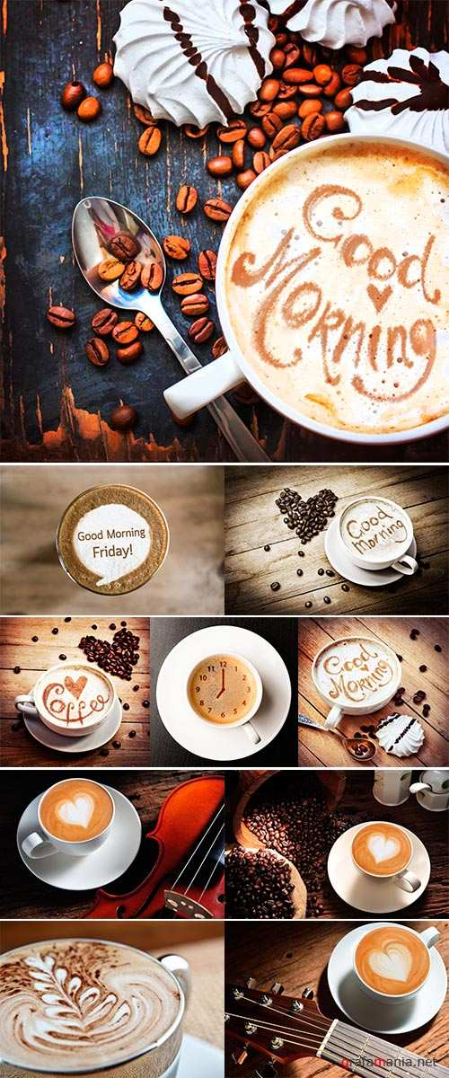 Stock Photo Cup of coffee with meringue cookies and coffee beanes, Fresh Morning latte art coffee