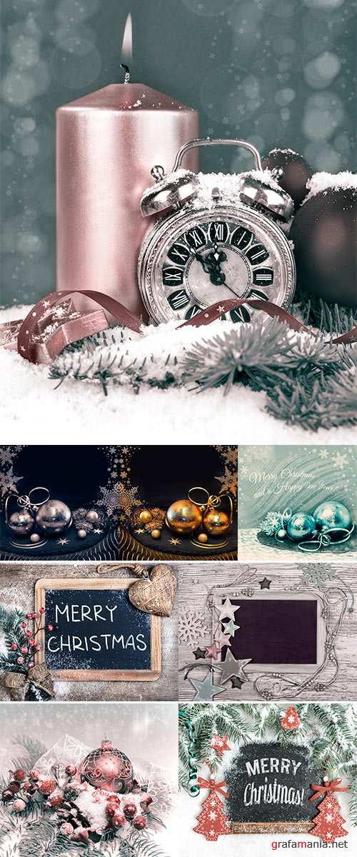 Stock Photo Christmas corner composition with trinkets and replaceable text, toned image