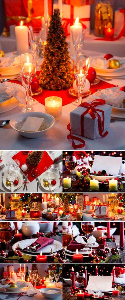 Stock Photo Christmas dishware on the wooden table