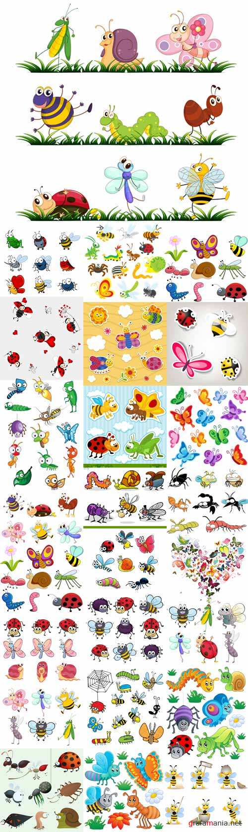 Cartoon insects kids vector