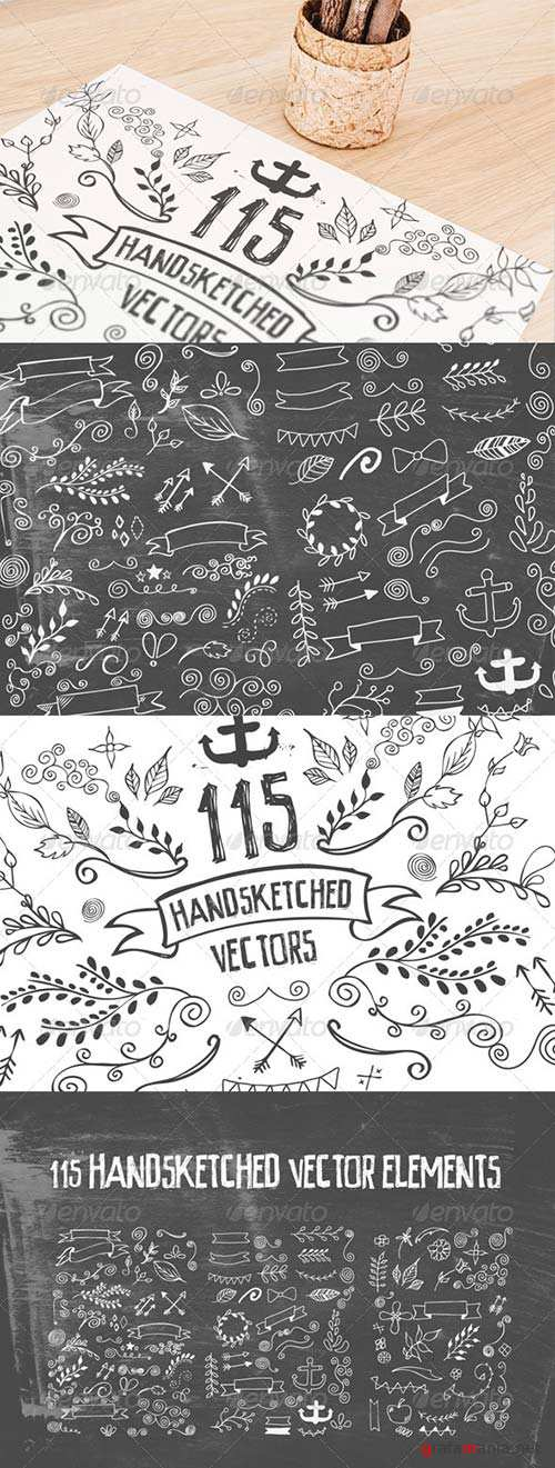 GraphicRiver 115 Handsketched Vector Elements Kit