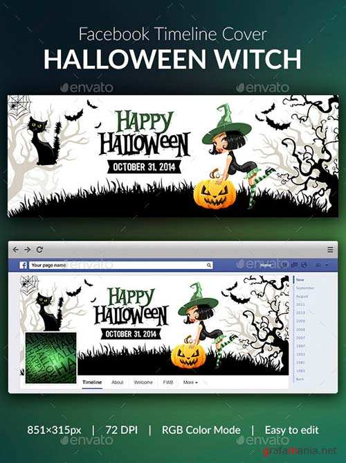 GraphicRiver Halloween Witch Facebook Cover