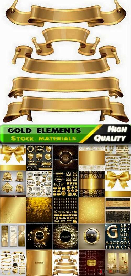 Different gold design elements in vector from stock #3 - 25 Eps