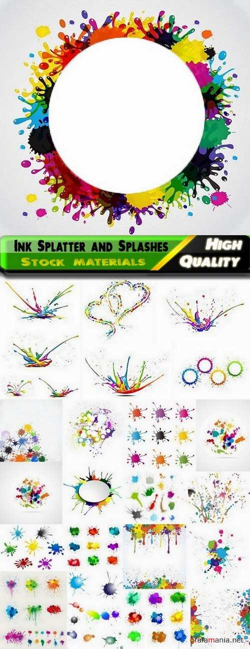 Colorful ink Splatter and Splashes in vector from stock - 25 Epss