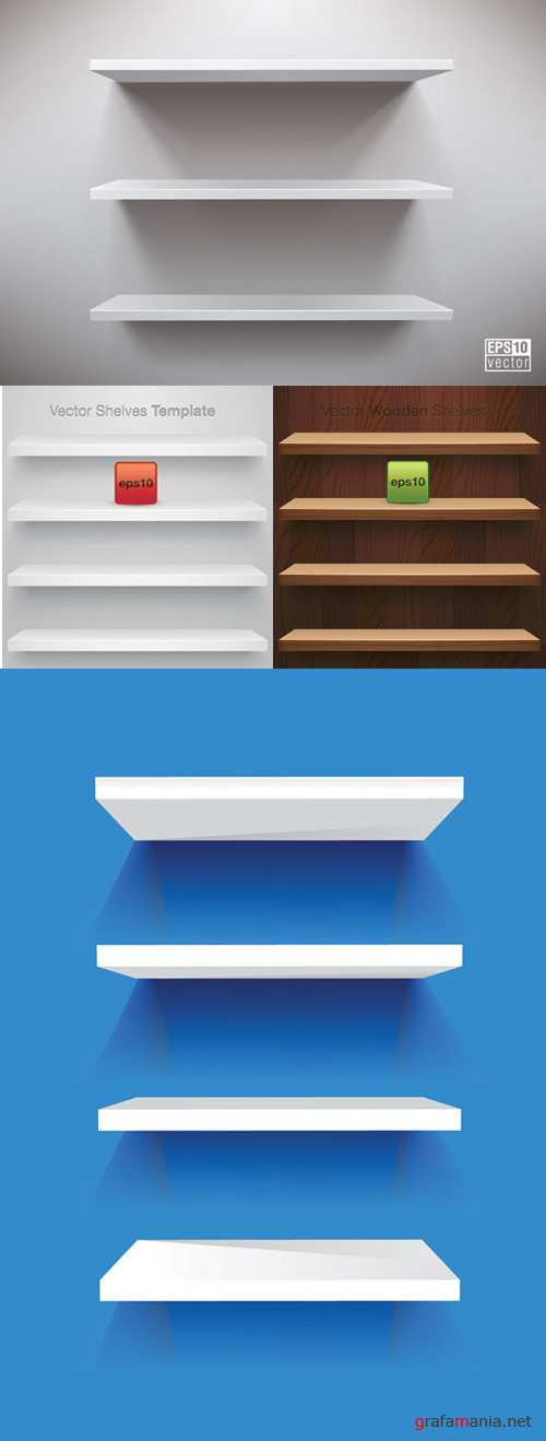 Vector blank display shelves