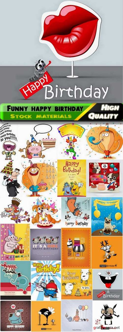 Funny happy birthday cards design in vector from stock - 25 Eps