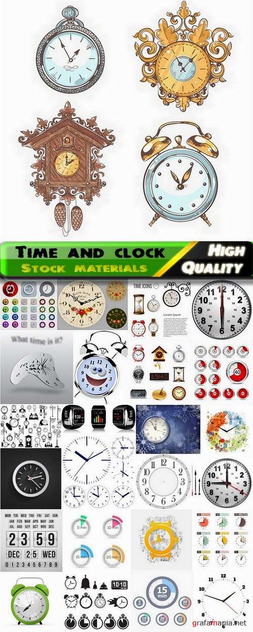 Time and clock in vector from stock - 25 Eps