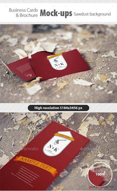 GraphicRiver Business Card/Brochure Mock-Ups Sawdust Background