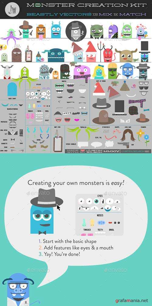 GraphicRiver Monster Creation Kit - Pre-Made Characters & Parts