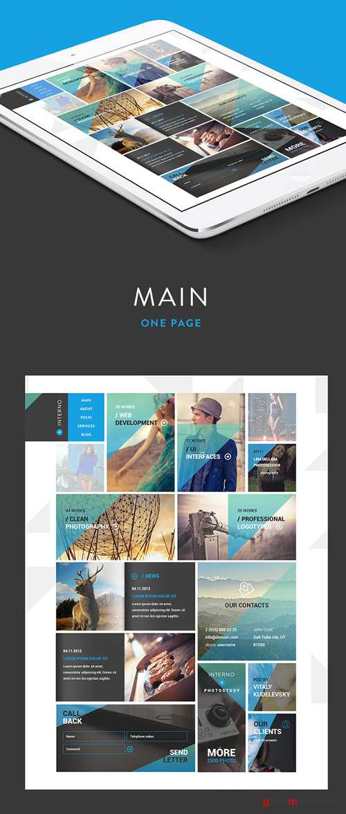One Page Template PSD