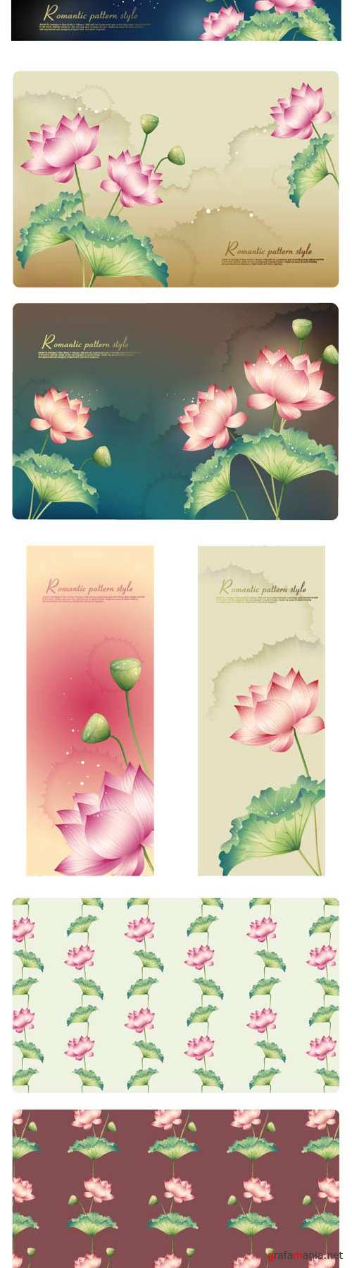 Romantic floral banners