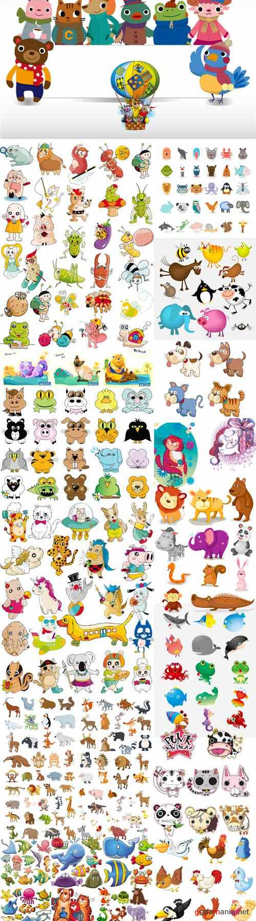 Cartoon funny animals vector