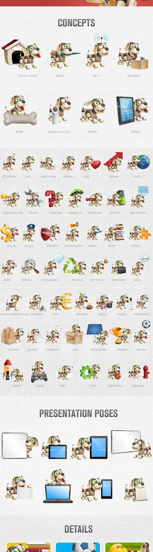 Dog Robot Cartoon Character Set - AI, EPS, PSD Vector Cliparts
