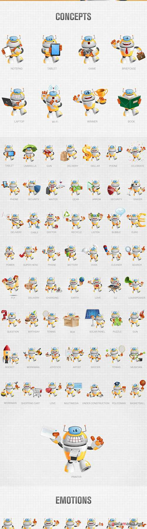 Funny Robot Cartoon Character - AI, EPS, PSD Vector Cliparts